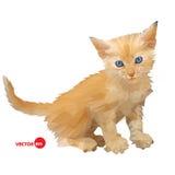 Gatto rosso del bambino, piccola siluetta dell'illustrazione di vettore del gattino sui precedenti bianchi isolati, fatto nei pol Fotografie Stock