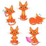 Gatto rosso Gatto di seduta Gatto di sonno Gatto e telefono Gatto e smartphone Fotografie Stock Libere da Diritti