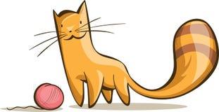 Gatto rosso semplice con un groviglio del filo Fotografie Stock Libere da Diritti