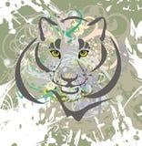 Gatto selvaggio su un fondo di lerciume royalty illustrazione gratis