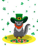 Gatto soddisfatto vestito come leprechaun Giorno del ` s di St Patrick del manifesto Immagine Stock Libera da Diritti