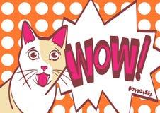 Gatto spaventato, preoccupato, sorpreso, illustrazione di tiraggio della mano di vettore nello stile di Pop art ENV 10 sugli stra Fotografia Stock