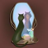 Gatto, strega e lo specchio royalty illustrazione gratis