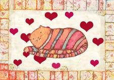 Gatto a strisce, acquerello Fotografia Stock