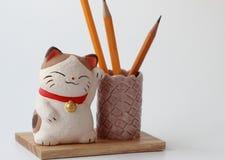gatto su un supporto di legno sotto le matite fotografia stock