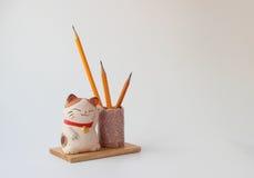 gatto su un supporto di legno sotto le matite immagine stock libera da diritti