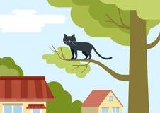 Gatto sul ramo di albero sugli animali domestici piani di vettore del fumetto di progettazione della via Immagine Stock Libera da Diritti
