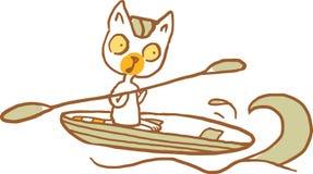 Gatto sulla barca con la pagaia Illustrazione di vettore Parte di una serie Immagini Stock