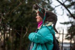 Gatto sulla spalla, durante la camminata fotografia stock libera da diritti
