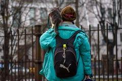 Gatto sulla spalla, durante la camminata fotografia stock