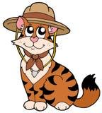 Gatto sveglio in cappello dell'esploratore Fotografie Stock Libere da Diritti