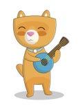 Gatto sveglio che gioca l'illustrazione di vettore delle ukulele Illustrazione Vettoriale