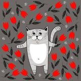 Gatto sveglio con i fiori rossi Immagini Stock Libere da Diritti