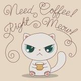 Gatto sveglio con la tazza di caffè Fotografia Stock Libera da Diritti