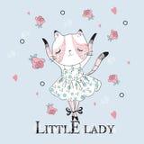 Gatto sveglio del ballerino con il piccolo slogan di signora royalty illustrazione gratis