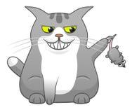 Gatto sveglio del fumetto che gioca con il topo Immagini Stock