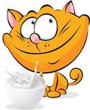 Gatto sveglio dello zenzero che si siede con il latte Fotografia Stock