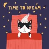 Gatto sveglio di sonno royalty illustrazione gratis