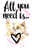 Gatto sveglio illustrazione del gattino dell'acquerello Scheda di amore illustrazione di stock