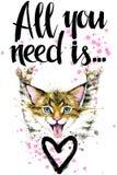 Gatto sveglio illustrazione del gattino dell'acquerello Scheda di amore illustrazione vettoriale