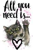 Gatto sveglio illustrazione del gattino dell'acquerello Scheda di amore royalty illustrazione gratis