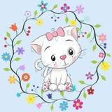 Gatto sveglio nel telaio dei fiori royalty illustrazione gratis