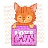 Gatto sveglio in tasca Gatti di amore, gattino delle tasche ed illustrazione sorridente di vettore del fumetto del gatto royalty illustrazione gratis