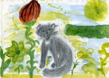 Gatto in un giardino di fantasia Fotografie Stock Libere da Diritti