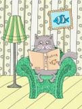 Gatto in una poltrona illustrazione di stock