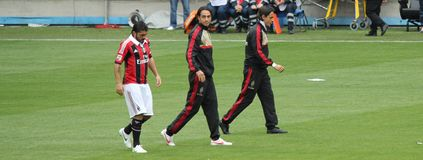 Gattuso Nesta Inzaghi que sale con la CA Milano Imágenes de archivo libres de regalías