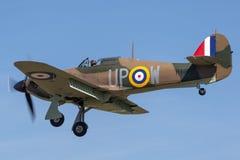 Gatuförsäljare 1940 Hurricane Mk 1 tidigare Royal Air Force R.A.F.flygplan för R4118 G-HUPW A och en strid av den Britannien över arkivbild