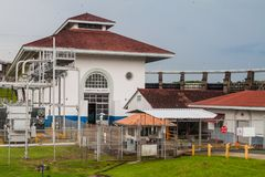Gatun dam power generating station, Pana. Ma stock photography