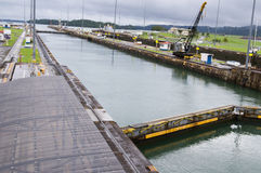 Gatun lock pool on Panama Canal Royalty Free Stock Image