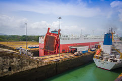 Gatun Locks, Panama Canal. This is the first set Stock Photos