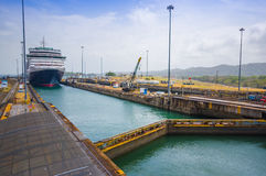 Gatun Locks, Panama Canal. This is the first set Stock Images