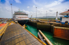 Gatun Locks, Panama Canal. This is the first set Royalty Free Stock Image