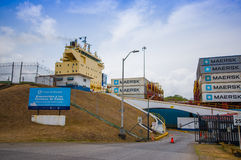 Gatun Locks, Panama Canal. This is the first set Royalty Free Stock Photography