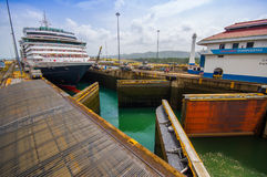 Gatun Locks, Panama Canal. This is the first set Royalty Free Stock Photos