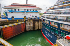 Gatun Locks, Panama Canal. This is the first set Royalty Free Stock Images