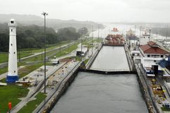 GATUN LOCKS. PANAMA CANAL-NOV. 7:This is the first set of locks situated on the Atlantic entrance of the Panama Canal. On nov. 7 2012 in Panama. Ships are Stock Image