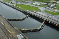 GATUN LOCKS. PANAMA CANAL-NOV. 7:This is the first set of locks situated on the Atlantic entrance of the Panama Canal. On nov. 7 2012 in Panama. Ships are Royalty Free Stock Photography