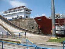 Gatun Locks with a ship. Gatun Lock along the Panama Canal with a ship preparing to pass through Royalty Free Stock Photos
