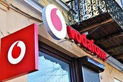 Gatunku imię i logo Sim firma produkująca kartki Vodafone obraz stock
