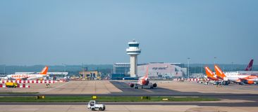 Easyjet flights parking and on taxi route to runway at London Gatwick Airport stock photography