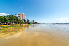 Gauayas River and Guayaquil. View of Guayaquil, Ecuador from the Guayas River Royalty Free Stock Photos