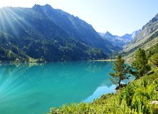 Gaube lake in the Pyrenees national park,France. royalty free stock photography