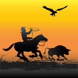 Gaucho Dawn. Background illustration of a Gaucho herding a bull Royalty Free Stock Photography