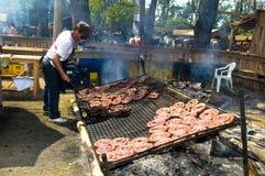 Gaucho festival. TACUAREMBO, URUGUAY - MAR 6 : barbecue in the annual festival Patria Gaucha March 6, 2010 in Tacuarembo, Uruguay. It is one of the biggest Royalty Free Stock Photos