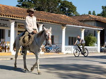 Gaucho on his horse in a street. Royalty Free Stock Photo