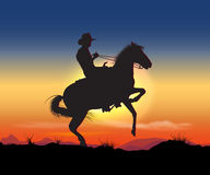 Gaucho. Night on the prairie cowboy rides Stock Image